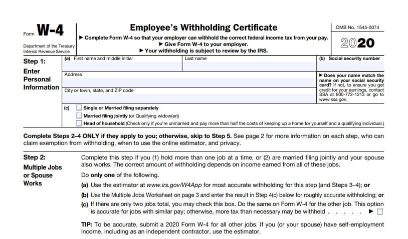 The new 2020 irs form W-4.