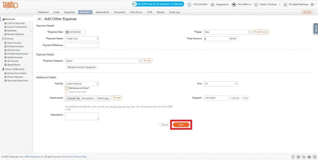 TruckLogics Truck Management Software for expenses