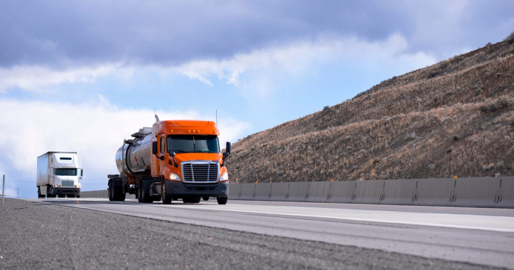 Truck on interstate using TruckLogics TMS for IFTA reporting