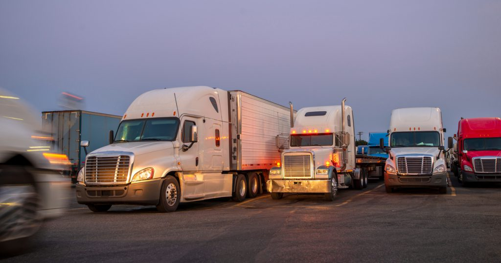 Trucks parked using TruckLogics trucking management system