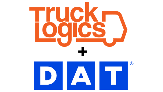 TruckLogics and DAT logos for load board trucking management software integration.